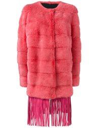 меховое пальто с бахромой  Yves Salomon
