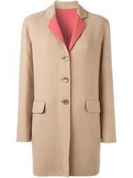 однобортное пальто с контрастным воротником Etro