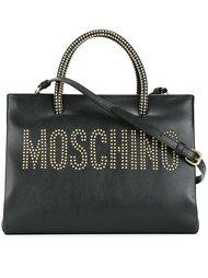 сумка-тоут с логотипом и заклепками Moschino