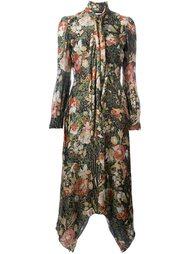 платье ламе с цветочным принтом Saint Laurent