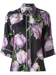 рубашка с принтом тюльпанов  Dolce & Gabbana
