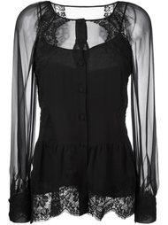 прозрачная блузка с кружевными панелями Alberta Ferretti