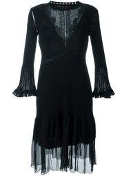 расклешенное платье с кружевной вставкой Alberta Ferretti