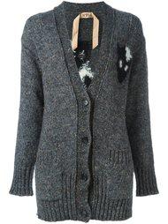 вязаное пальто с принтом кота Nº21