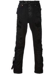 узкие рваные джинсы Unravel