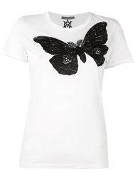 футболка с вышивкой мотылька Alexander McQueen