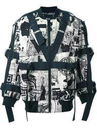 куртка-бомбер с принтом газет KTZ