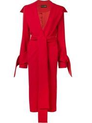 длинное пальто с поясом Christian Siriano