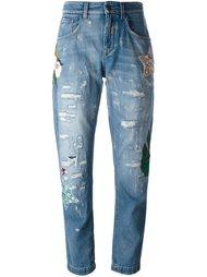 декорированные джинсы бойфренда  Dolce & Gabbana