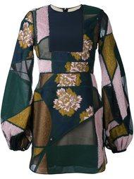 лоскутное платье с объемными рукавами Roksanda