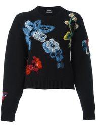 свитер с цветочной вышивкой  Anthony Vaccarello