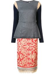 комбинированное платье с баской Erika Cavallini