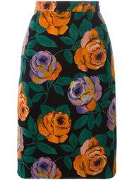 юбка с узором в виде роз Emanuel Ungaro Vintage