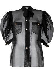 прозрачная блузка с рукавами-фонарик Chanel Vintage