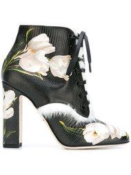 ботинки с принтом тюльпанов  Dolce & Gabbana