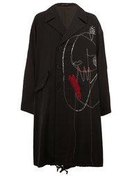 объемное пальто с вышивкой Yohji Yamamoto