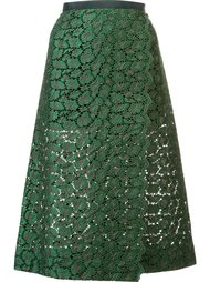 юбка длины миди с кружевом-макраме Sacai