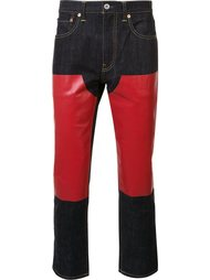 джинсы с кожаной вставкой  Junya Watanabe Comme Des Garçons Man