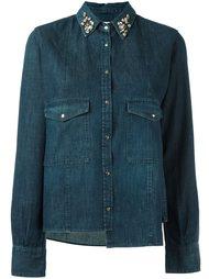 джинсовая рубашка с украшением на воротнике Golden Goose Deluxe Brand