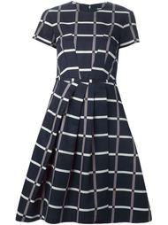 плиссированное платье в клетку Jil Sander Navy