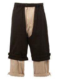 двухслойные укороченные брюки Yohji Yamamoto