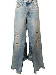 широкие рваные джинсы R13