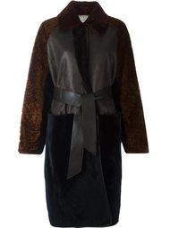 длинное пальто с поясом и панельным дизайном Lanvin