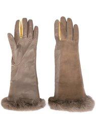 перчатки с отделкой из кроличьего меха Gala