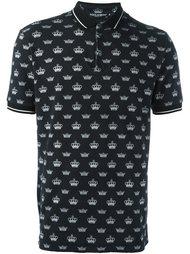 футболка-поло с принтом корон Dolce & Gabbana