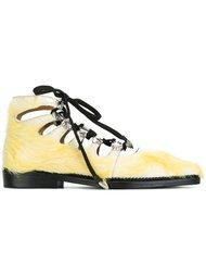туфли на шнуровке с меховой отделкой Toga