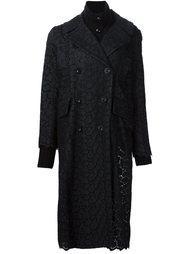 пальто с кружевной отделкой Sacai
