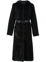 меховое пальто с капюшоном Yves Salomon