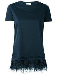 футболка с отделкой перьями  Jil Sander