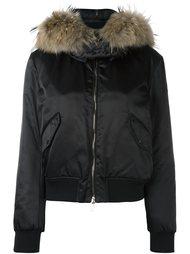куртка-пуховик с меховой отделкой Moncler