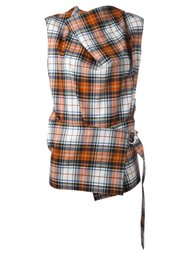 блузка в клетку без рукавов  Cédric Charlier