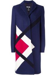пальто с контрастным геометрическим принтом MSGM