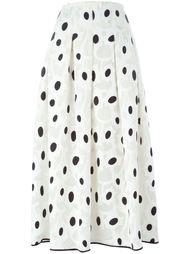 юбка миди с абстрактным принтом Oscar de la Renta