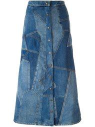 лоскутная джинсовая юбка  Saint Laurent
