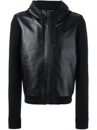 кожаная куртка с контрастными рукавами Dolce & Gabbana