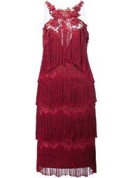 платье с бахромой Marchesa Notte