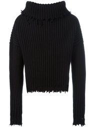 свитер с рваными деталями  Unravel