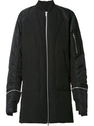 zipped long bomber jacket Byungmun Seo