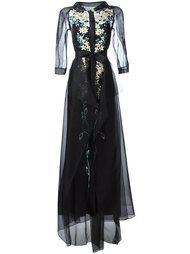 платье с цветочной вышивкой  Carolina Herrera