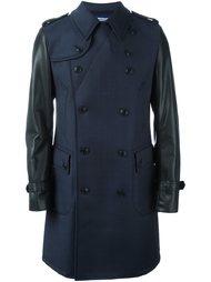 двубортное пальто с контрастными рукавами Junya Watanabe Comme Des Garçons Man