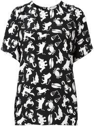 блузка с принтом знаков зодиака  Saint Laurent