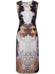 платье с эффектом металлик и цветочным кружевом Alberta Ferretti