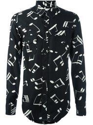 рубашка с принтом музыкальных нот Saint Laurent