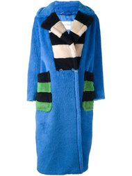 пальто с контрастными деталями в полоску Max Mara
