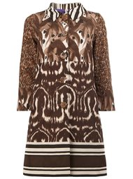 animal print buttoned coat Herno