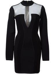 мини-платье с прозрачными вставками Balmain